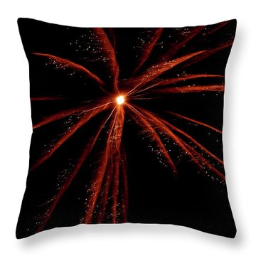 Throw Pillow featuring the photograph Red Fireworks #0699 by Barbara Tristan