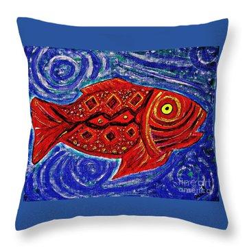 Red Fish Throw Pillow by Sarah Loft
