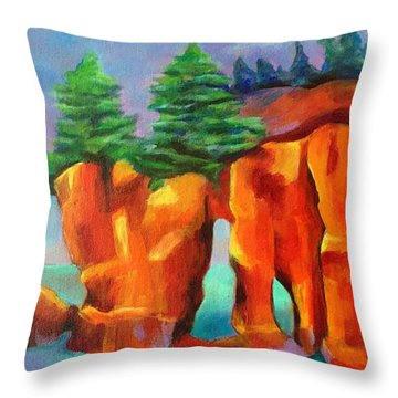 Red Fjord Throw Pillow by Elizabeth Fontaine-Barr