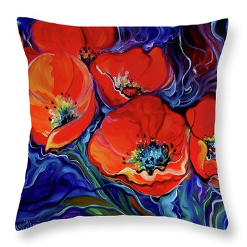 Red Floral Abstract Throw Pillow
