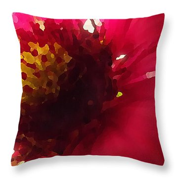 Red Flower Abstract Throw Pillow