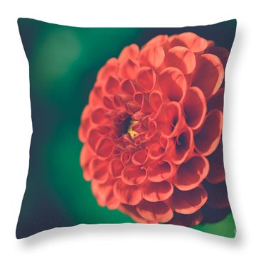 Red Flower Against Greenery Throw Pillow