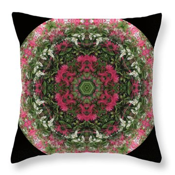 Red Flower Faces Kaleidoscope Throw Pillow