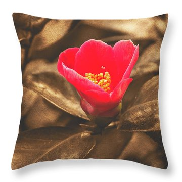 Throw Pillow featuring the photograph Red Flower On Sepia Background by Jacek Wojnarowski