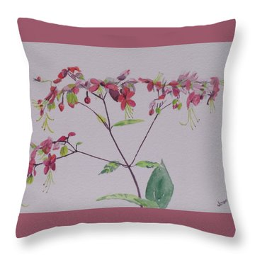Throw Pillow featuring the painting Red Flower Vine by Hilda and Jose Garrancho