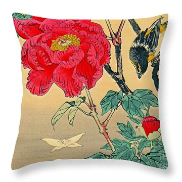 Red Flower With Bird 1870 Throw Pillow by Padre Art