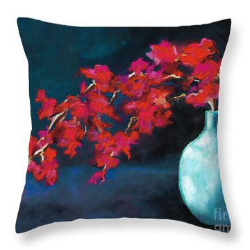 Throw Pillow featuring the painting Red Flowers by Frances Marino