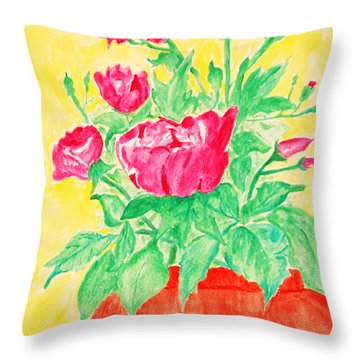 Red Flowers In A Brown Vase Throw Pillow