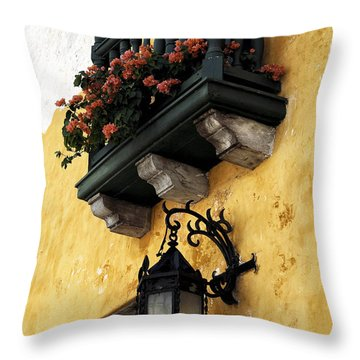 Red Flowers In Cartagena Throw Pillow by John Rizzuto