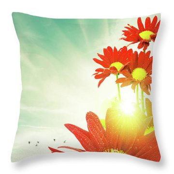Throw Pillow featuring the photograph Red Flowers Spring by Carlos Caetano
