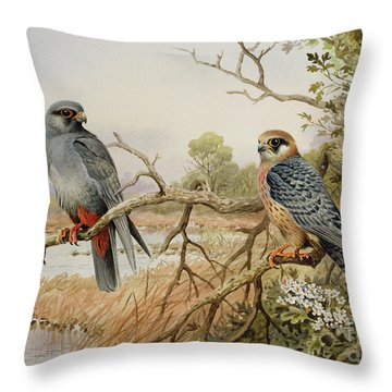 Red-footed Falcons Throw Pillow