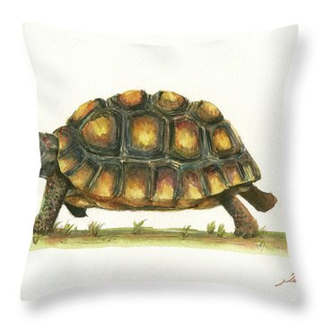 Red Footed Tortoise  Throw Pillow by Juan Bosco
