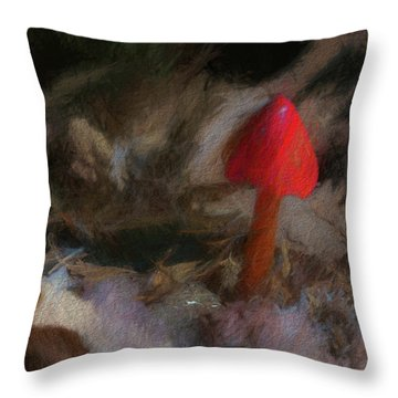 Red Forest Mushroom Throw Pillow