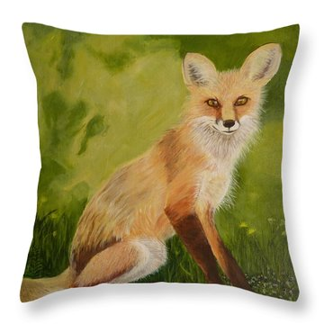 Red Fox 1 Throw Pillow