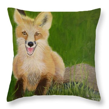 Red Fox 2 Throw Pillow