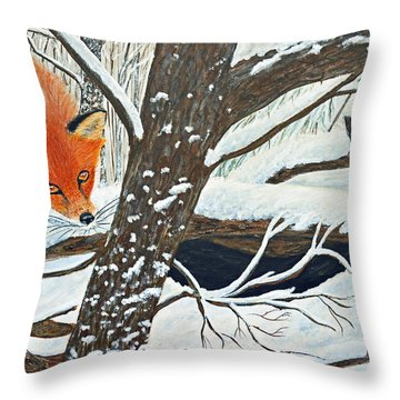 Red Fox And Cardinal Throw Pillow