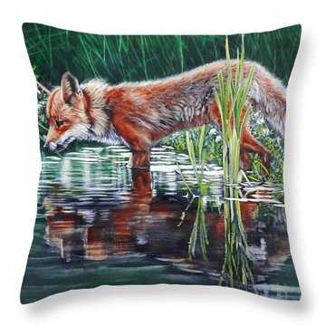 Red Fox Reflecting Throw Pillow