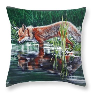 Throw Pillow featuring the painting Red Fox Reflecting by John Neeve