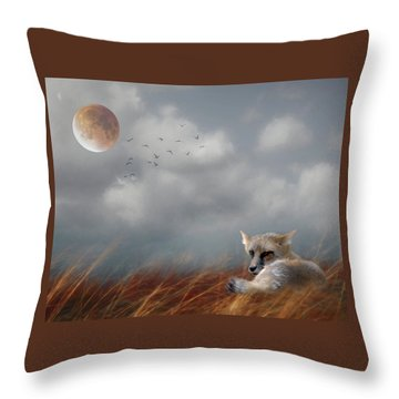 Red Fox In The Moonlight Throw Pillow