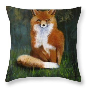 Red Fox Throw Pillow by Jean Yves Crispo