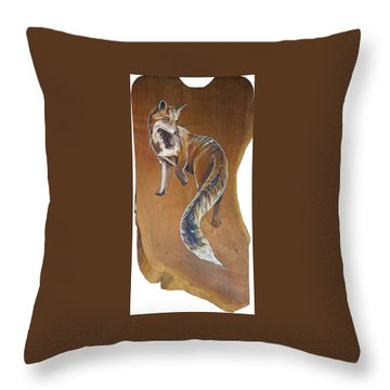 Red Fox On Cherry Slab Throw Pillow by Jacque Hudson