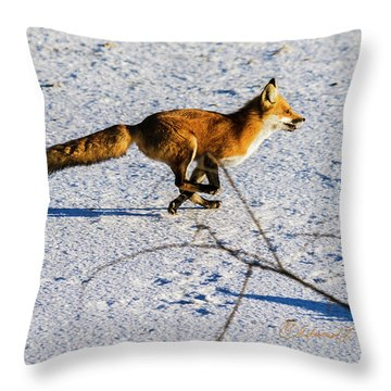 Red Fox On The Run Throw Pillow