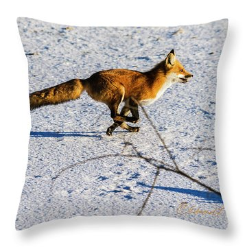 Red Fox On The Run Throw Pillow