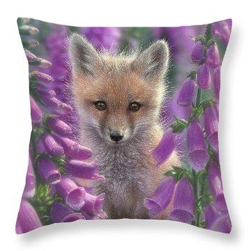 Red Fox Pup - Foxgloves Throw Pillow