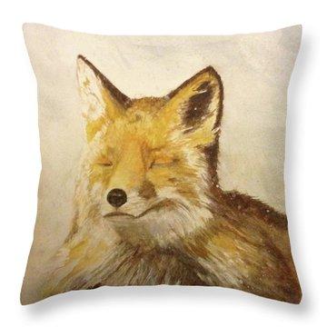 Red Fox Rest Throw Pillow