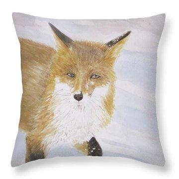 Red Fox Walk Throw Pillow