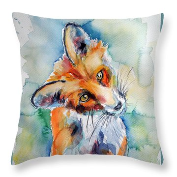 Red Fox Watching Throw Pillow