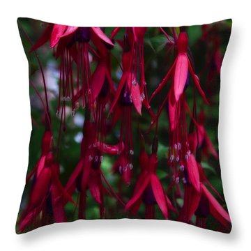 Red Fuchsia Throw Pillow by Svetlana Sewell