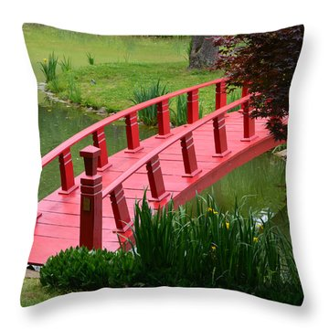 Red Garden Bridge Throw Pillow by Kathleen Stephens
