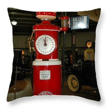 Red Gas Pump Throw Pillow by Kathleen Struckle