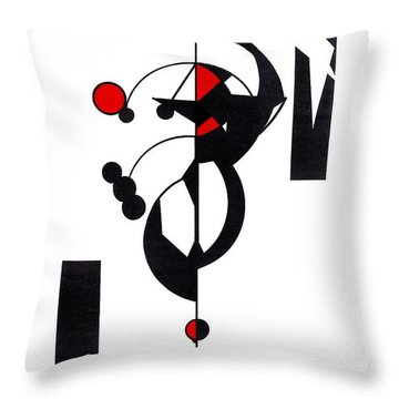 Red Geo Design Throw Pillow