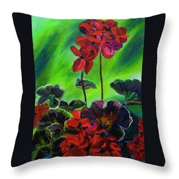 Red Geranium Throw Pillow