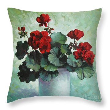Throw Pillow featuring the painting Red Geranium by Elena Oleniuc