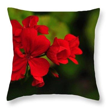 Red Geranium Throw Pillow by Kaye Menner