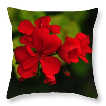 Red Geranium Throw Pillow by Kaye Menner