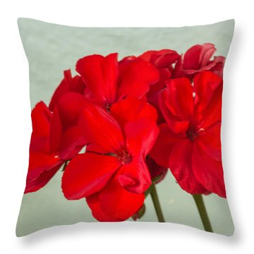 Red Geranium Throw Pillow by Nance Larson