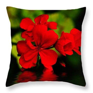 Red Geranium On Water Throw Pillow by Kaye Menner