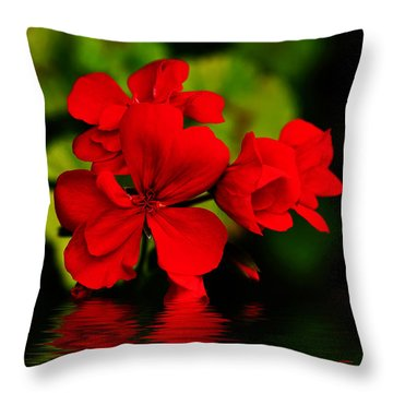 Red Geranium On Water Throw Pillow