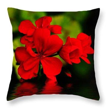Red Geranium On Water Throw Pillow