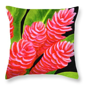 Red Ginger Flowers #235 Throw Pillow by Donald k Hall