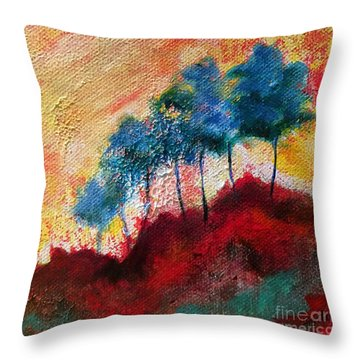 Red Glade Throw Pillow by Elizabeth Fontaine-Barr