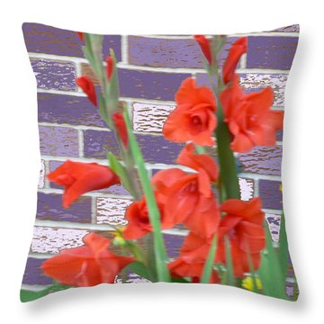 Red Gladiolas Throw Pillow