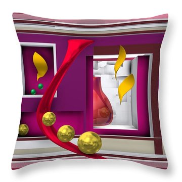 Red Glass In The Room With White Light Throw Pillow
