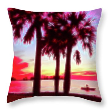 Throw Pillow featuring the photograph Red Glow Beach Sunset by Aimee L Maher Photography and Art Visit ALMGallerydotcom