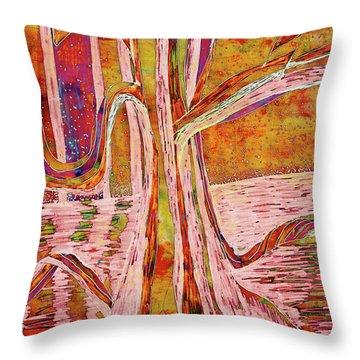 Red-gold Autumn Glow River Tree Throw Pillow