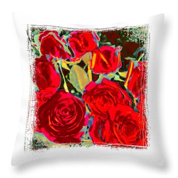 Red Gold Rosed Throw Pillow